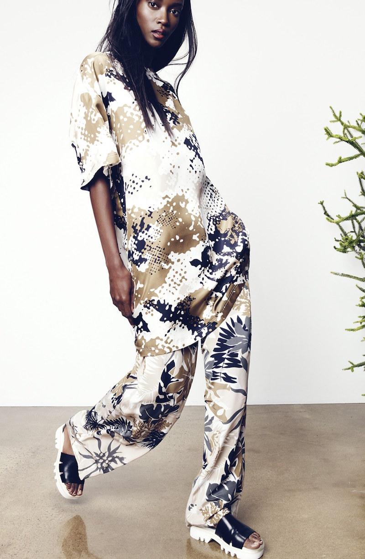 rag & bone Chester Camo Print Silk T-Shirt Dress