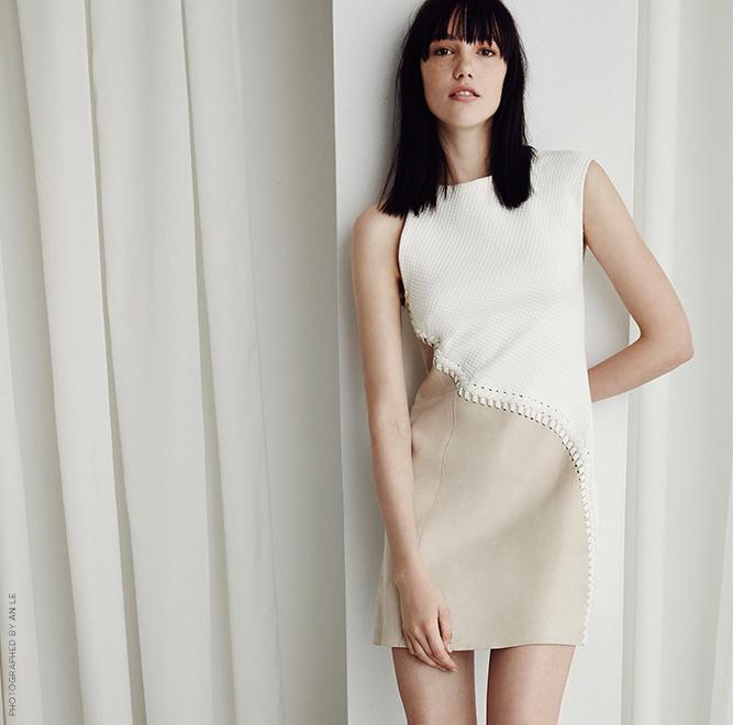3.1 Phillip Lim Mixed-Media Lace-Up Dress