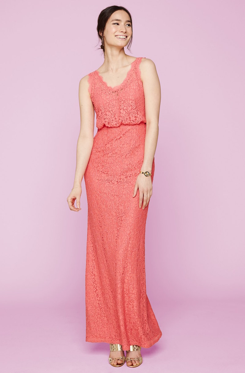 Adrianna Papell Floral Lace Blouson Column Gown