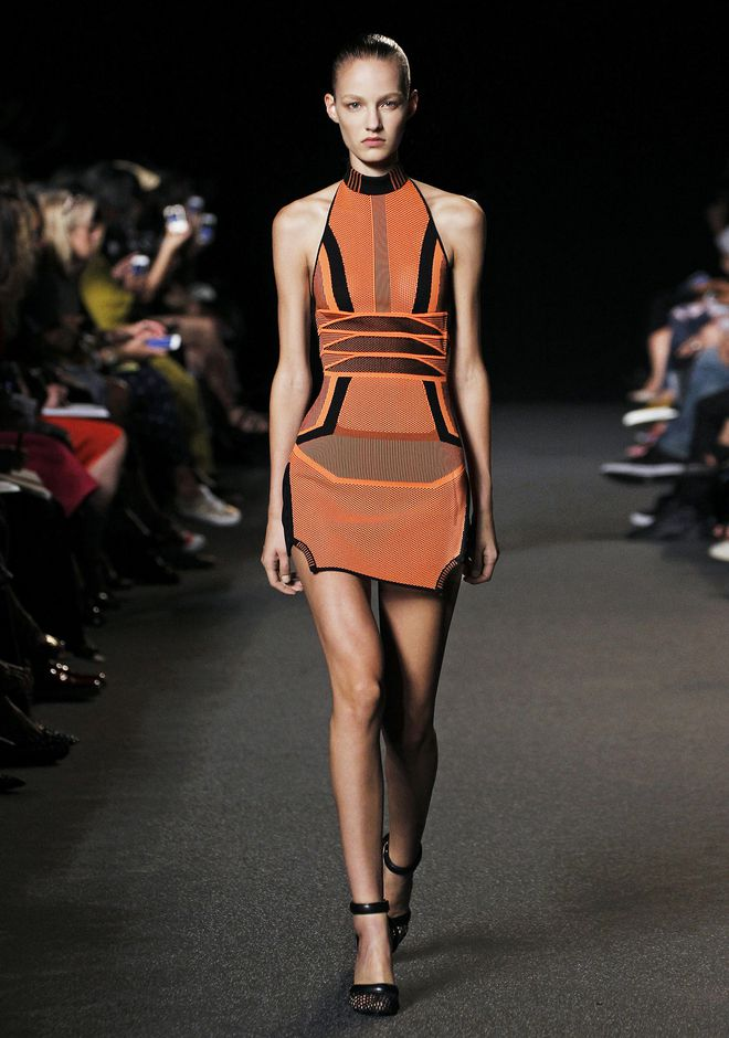 Alexander Wang Bi Color Mesh Halter Dress