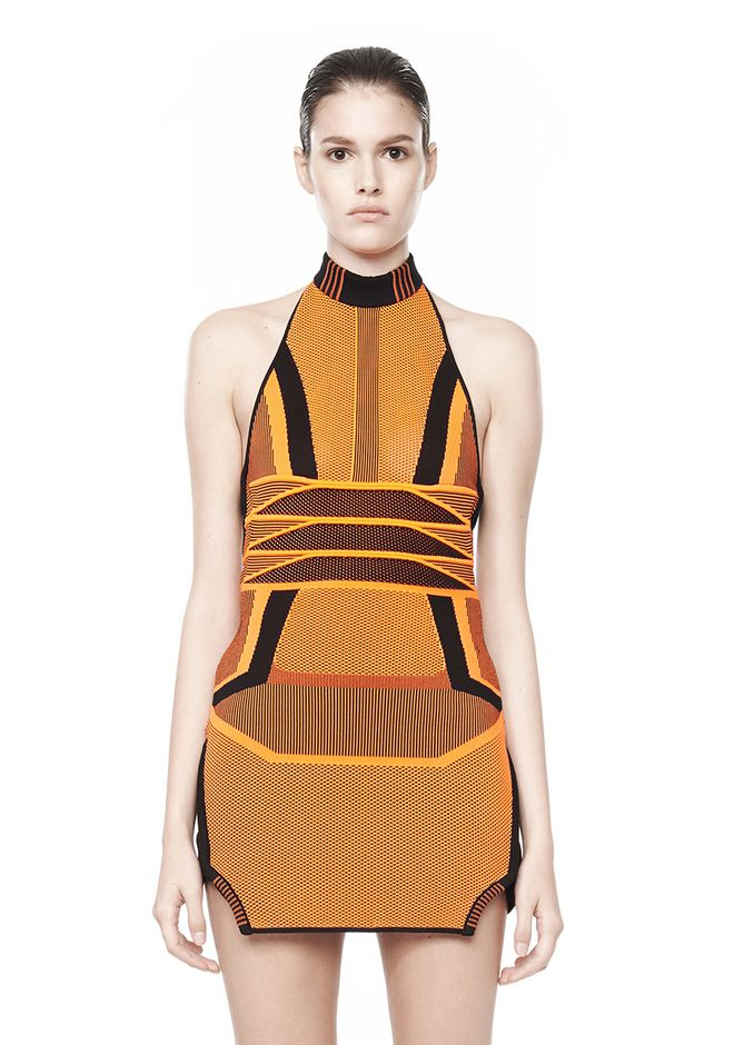 Alexander Wang Bi Color Mesh Halter Dress_1
