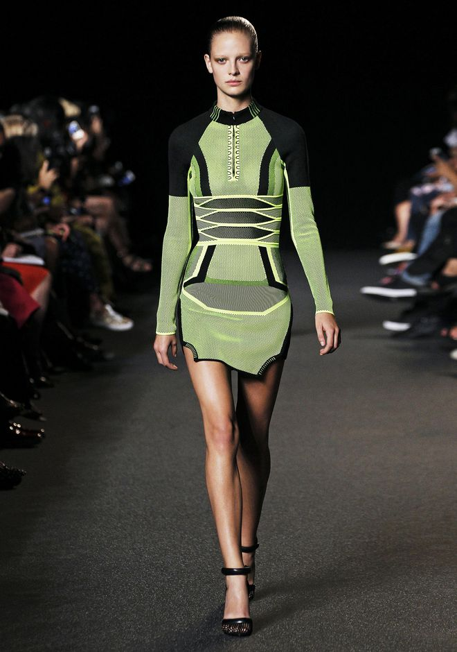 Alexander Wang Bi Color Mesh Long-sleeved Dress