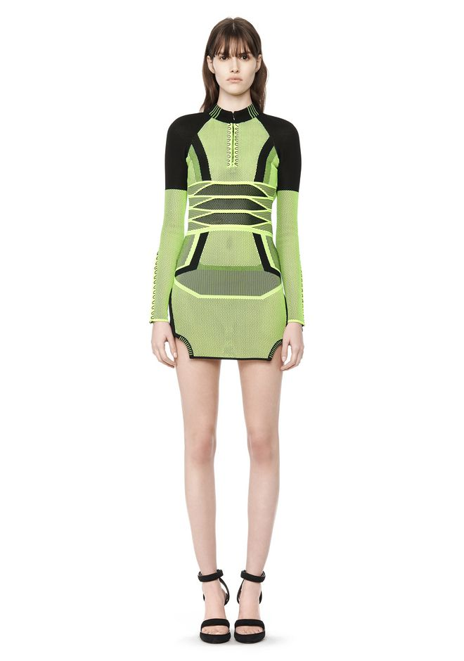 Alexander Wang Bi Color Mesh Long-sleeved Dress_1
