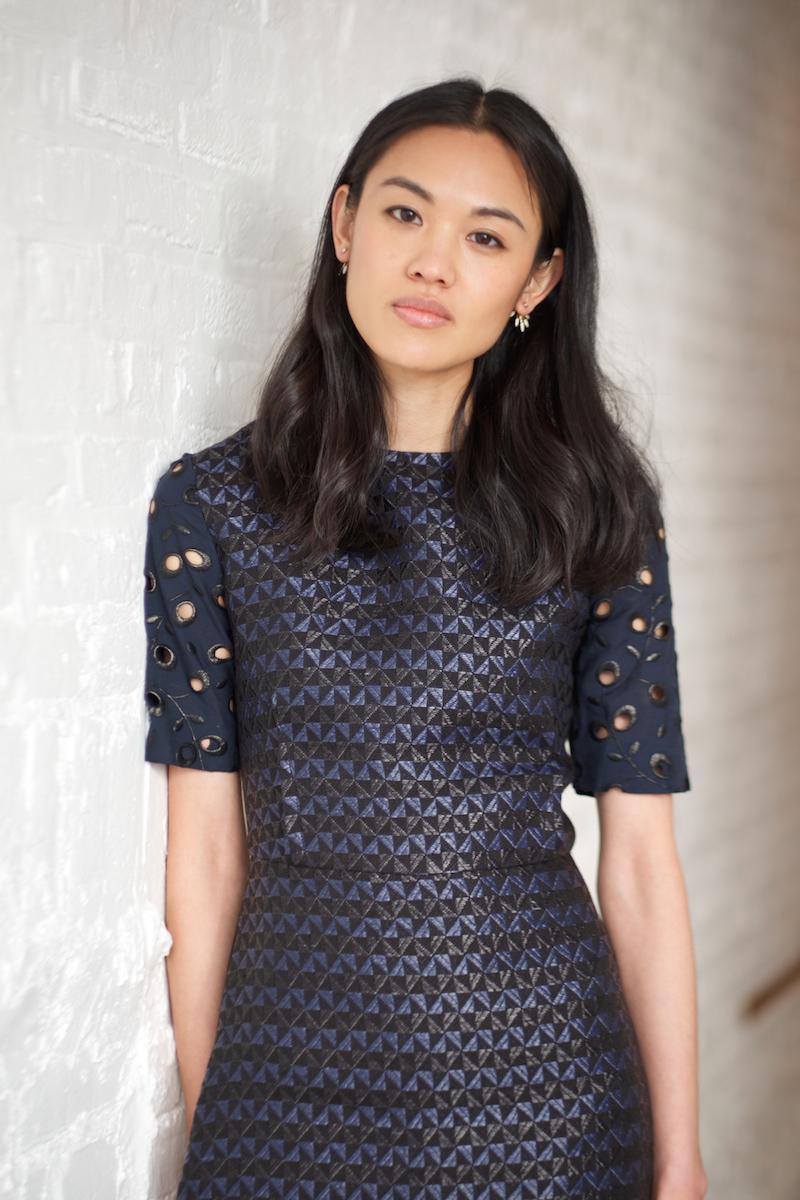 Amelia Toro Geo-Jacquard Belted Dress