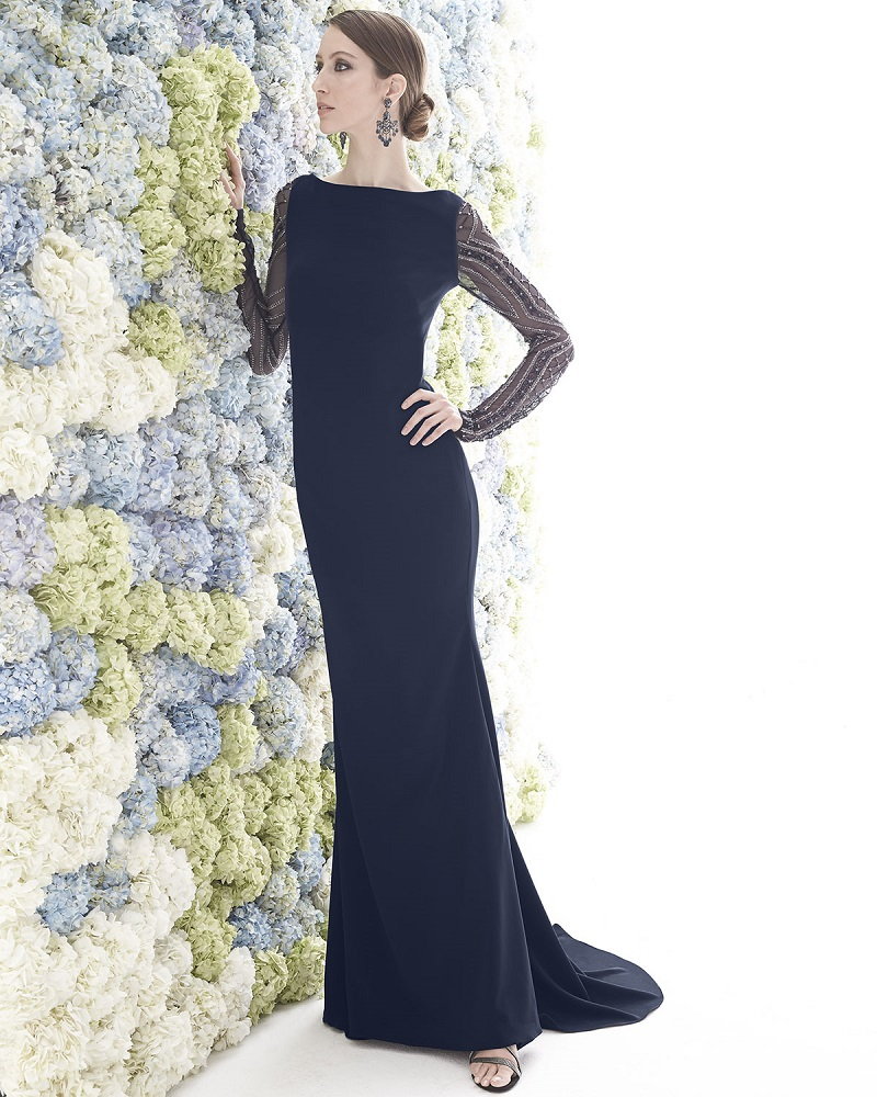 Badgley Mischka Collection Beaded-Long-Sleeve Gown