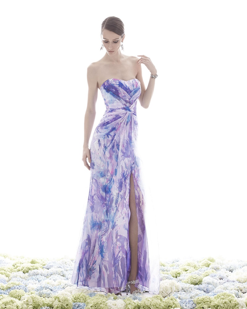 Badgley Mischka Collection Strapless Sweetheart Floral-Print Gown