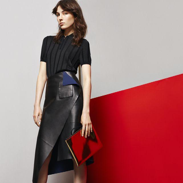 Balenciaga Draped leather skirt