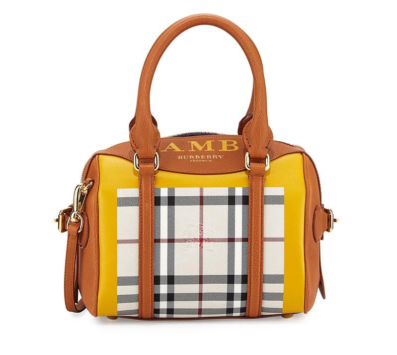 Burberry Monogram Leather & Check Mini Satchel Bag