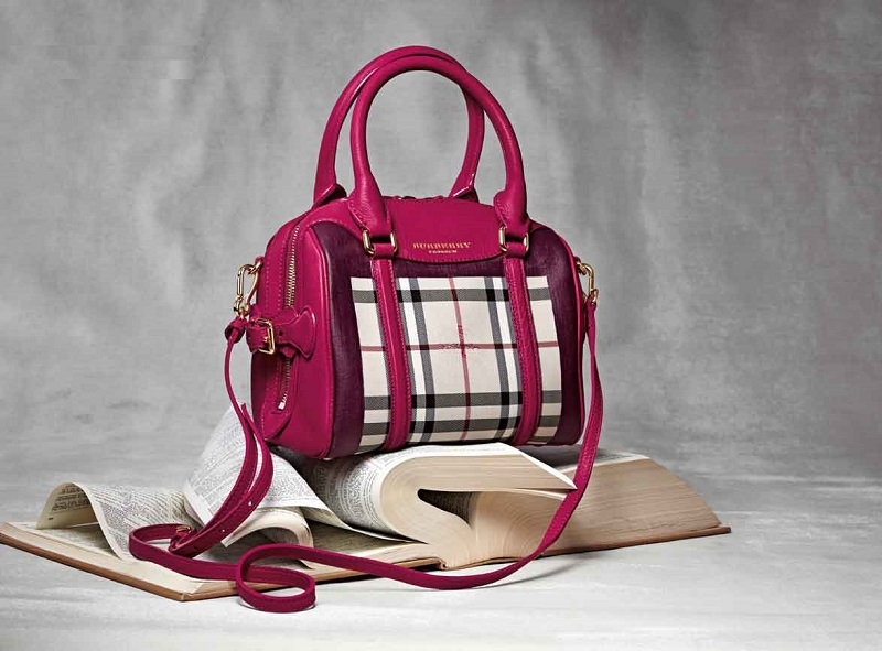 Burberry Prorsum Leather-Trim Handbag
