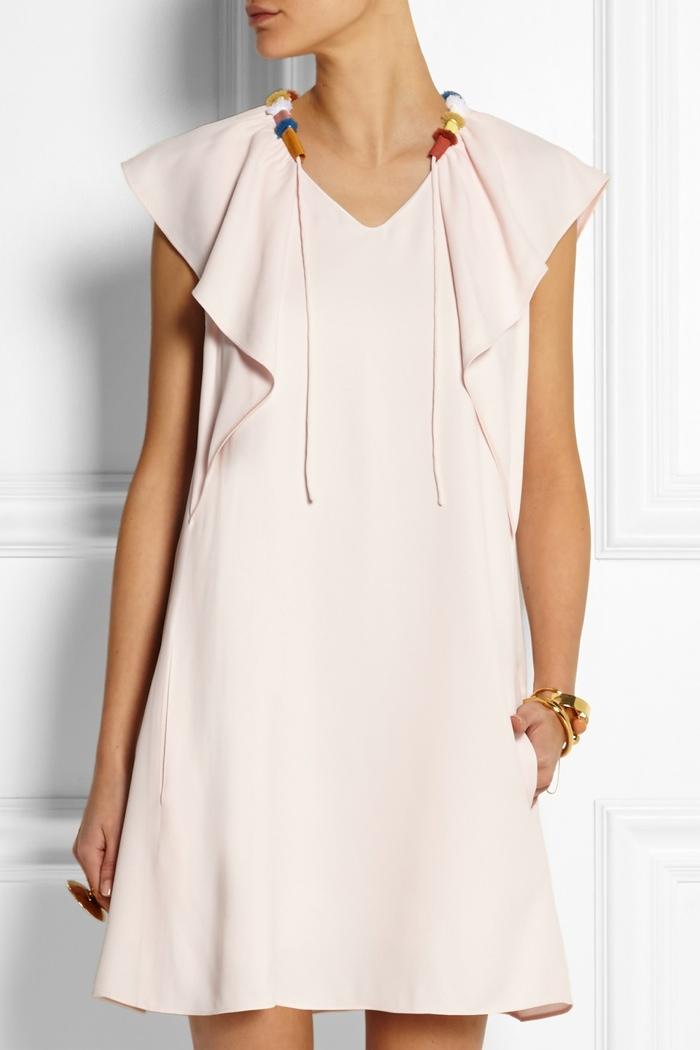 Chloé Grosgrain-trimmed ruffled cady mini dress