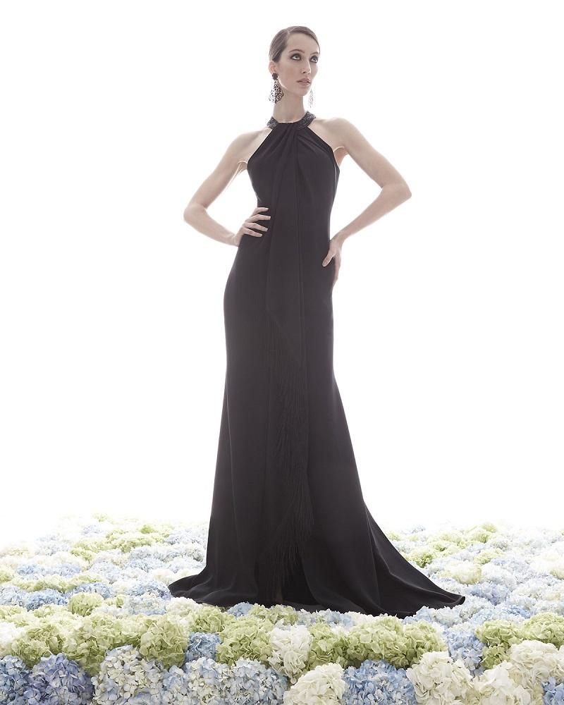 Carmen Marc Valvo Sleeveless Halter Beaded Toga Gown