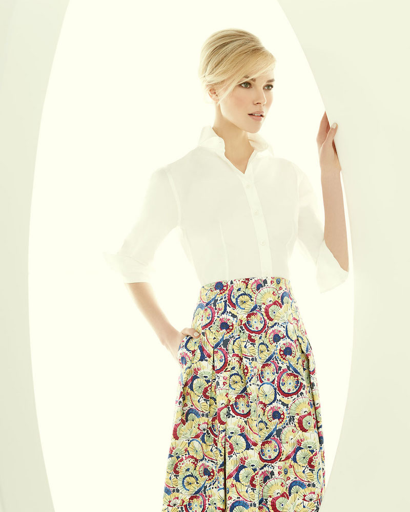 Carolina Herrera Parasol-Print Inverted-Pleat A-Line Skirt