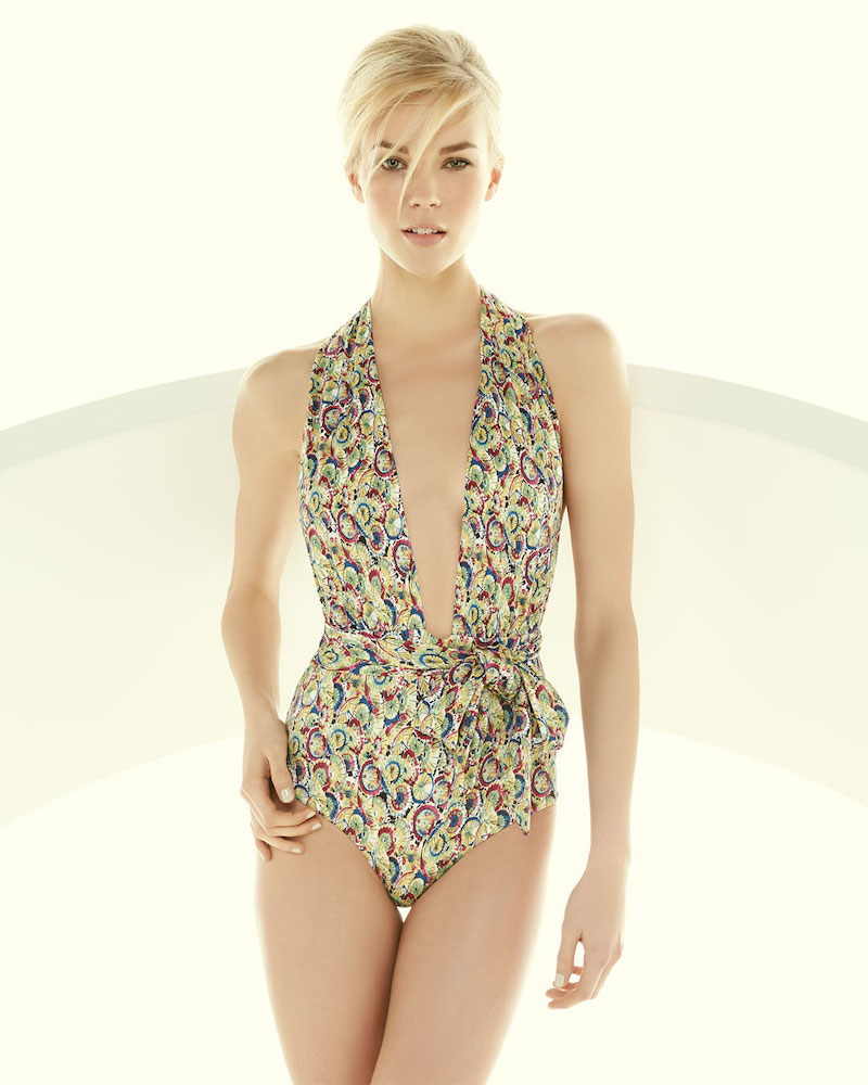 Carolina Herrera Parasol-Print One-Piece Halter Swimsuit