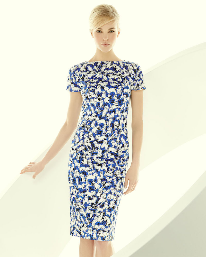 Carolina Herrera Short-Sleeve Gaspar-Print Sheath Dress