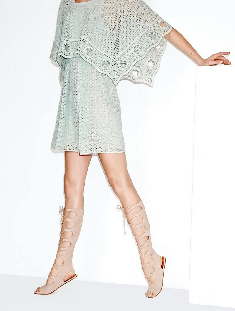 Chloé Suede Knee-High Lace-Up Sandals