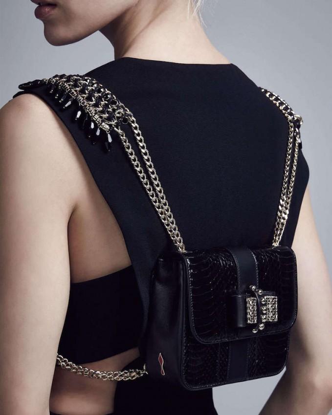 Christian Louboutin Sweet Charity Mini Snakeskin Backpack