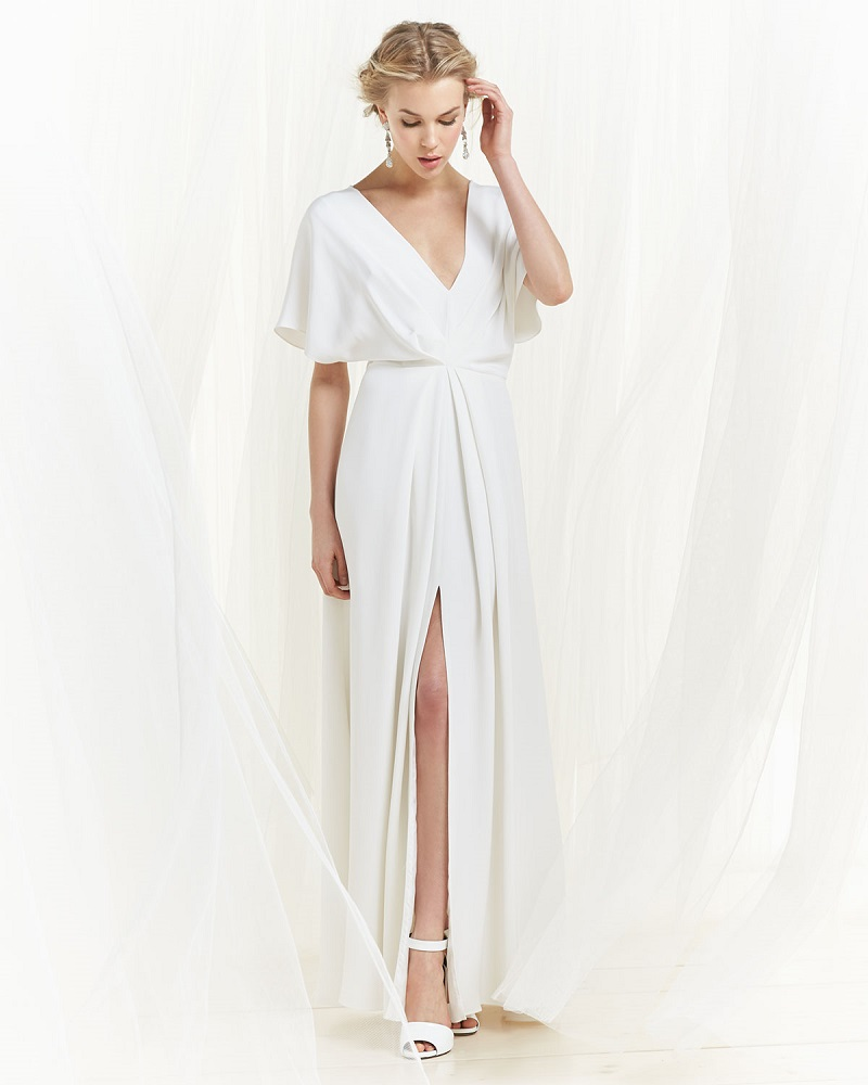 Christian Siriano High-Slit Draped Dolman Gown