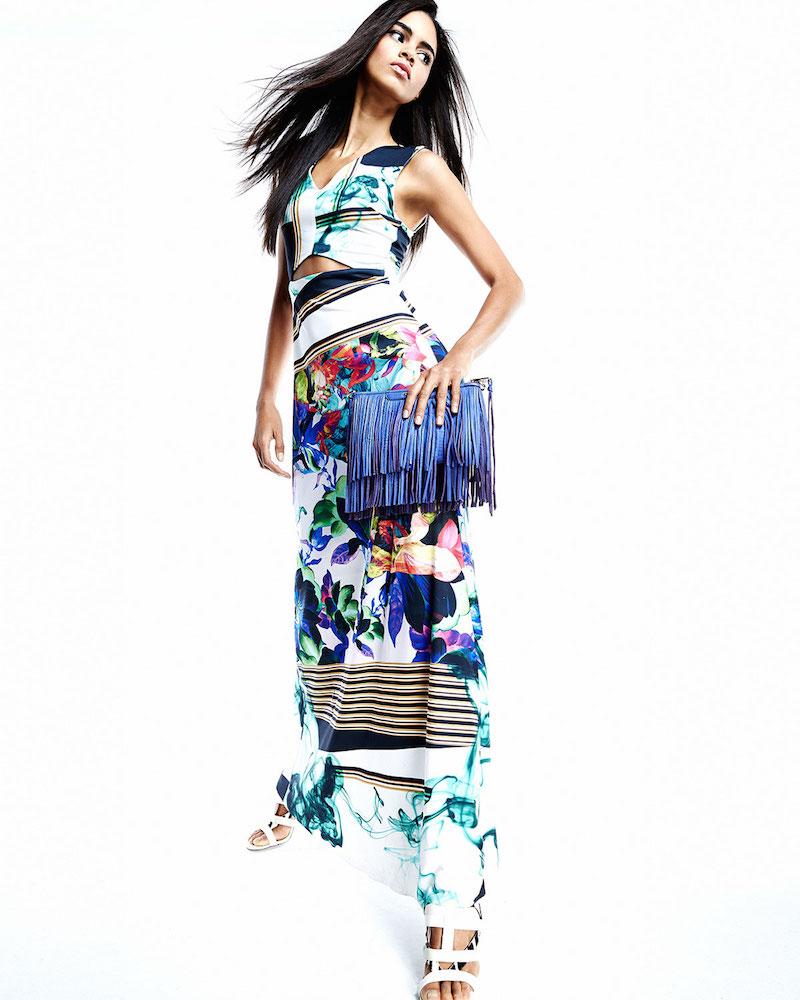 Clover Canyon Liquid Jade Printed Cutout Maxi Dress