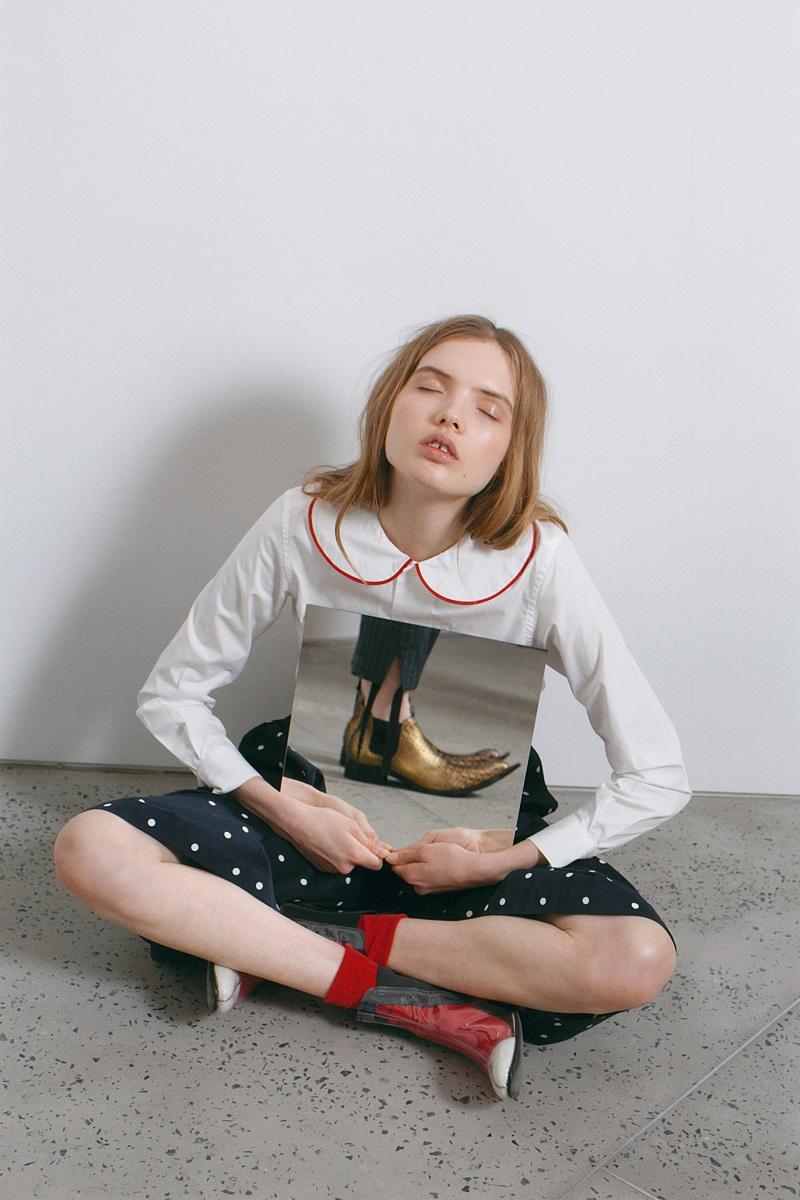 Comme des Garçons Girl White & Red Peter Pan Collar Shirt