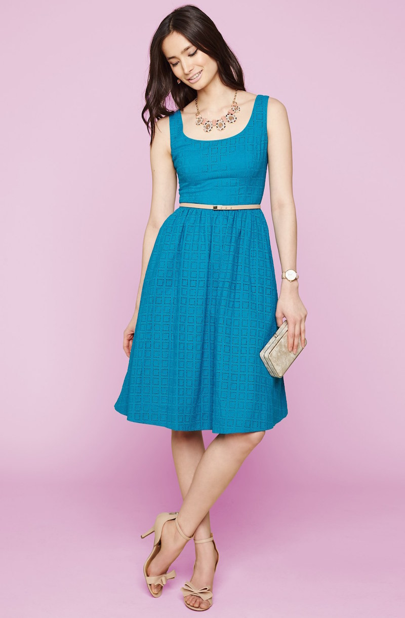 Donna Morgan Belted Eyelet Lace Fit & Flare Dress