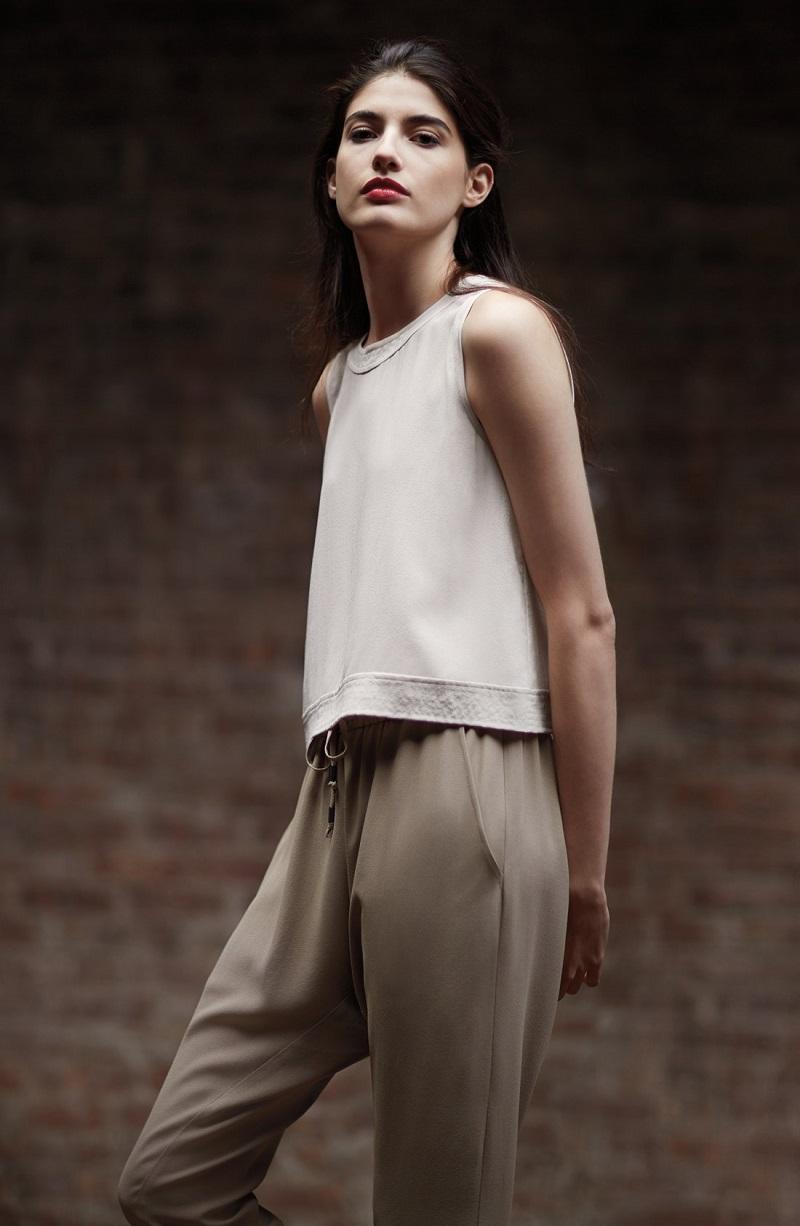 Eileen Fisher Button Back Silk Crop Shell