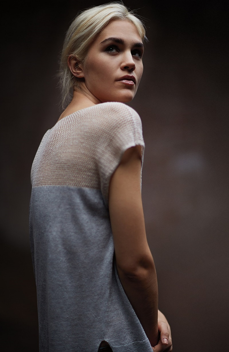 Eileen Fisher Delave Linen Contrast Yoke Bateau Neck Top