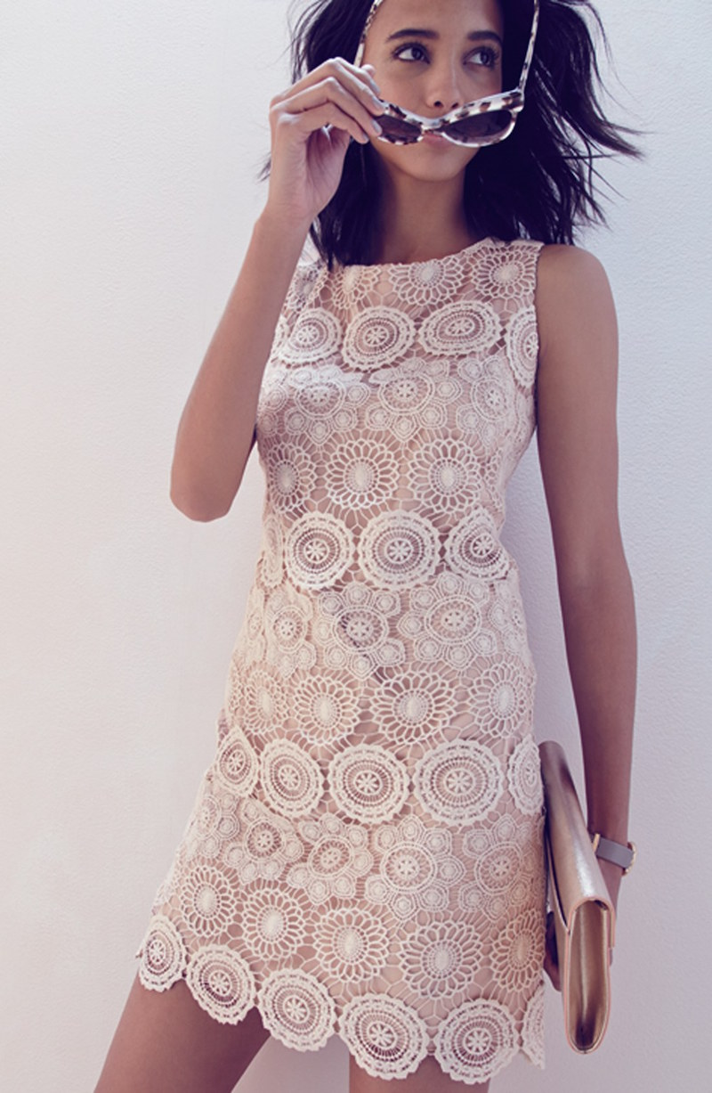 Eliza J Crochet Sleeveless Shift Dress