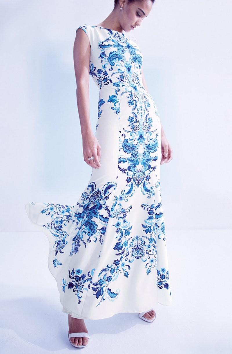 Eliza J Print Crêpe de Chine Mermaid Gown