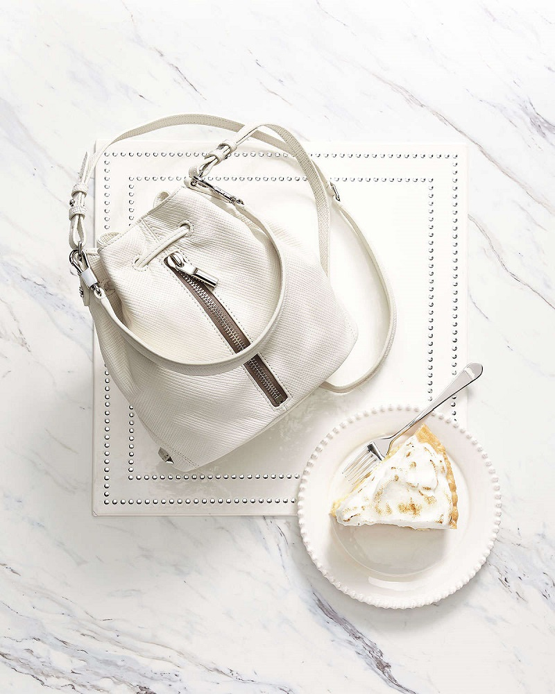 Elizabeth and James Cynnie Mini Crosshatch Leather Bucket Bag