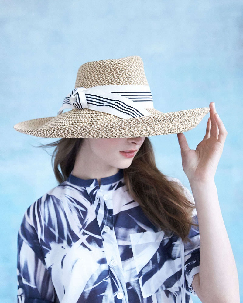 Eric Javits Socialite Stripe-Bow Hat