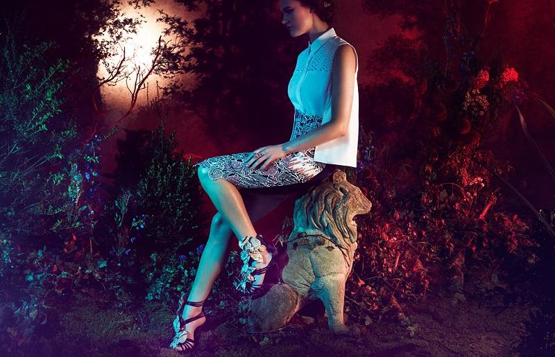 Giuseppe Zanotti Satin & Snakeskin Flower Sandals