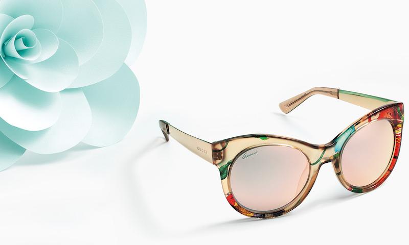 Gucci Fabric-Embed Round Sunglasses