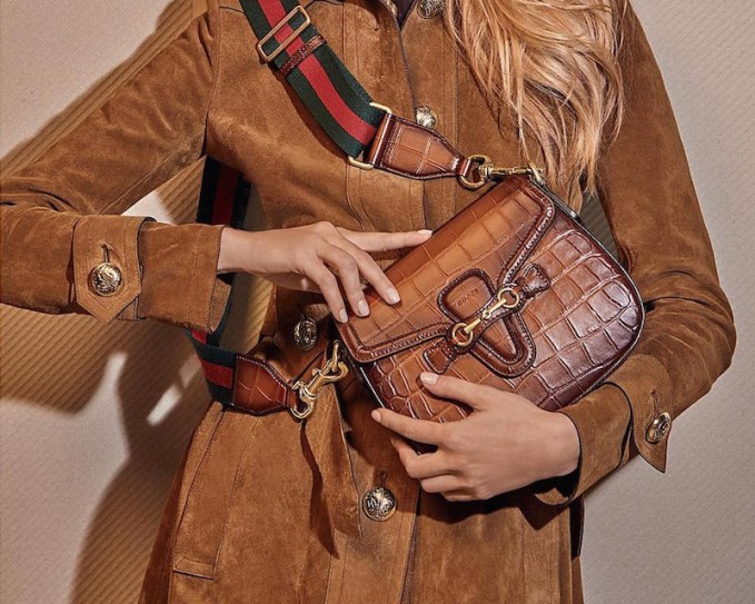 Gucci Lady Web Hand-Stained Crocodile Shoulder Bag