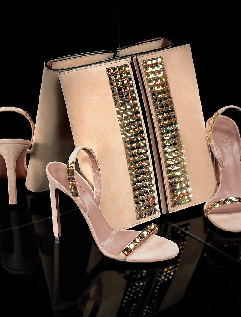 Gucci Mallory Crystal Slingback Sandals