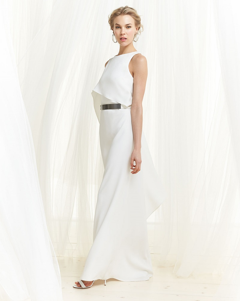 Halston Heritage Boat-Neck Gown with Asymmetric Flutter Drape