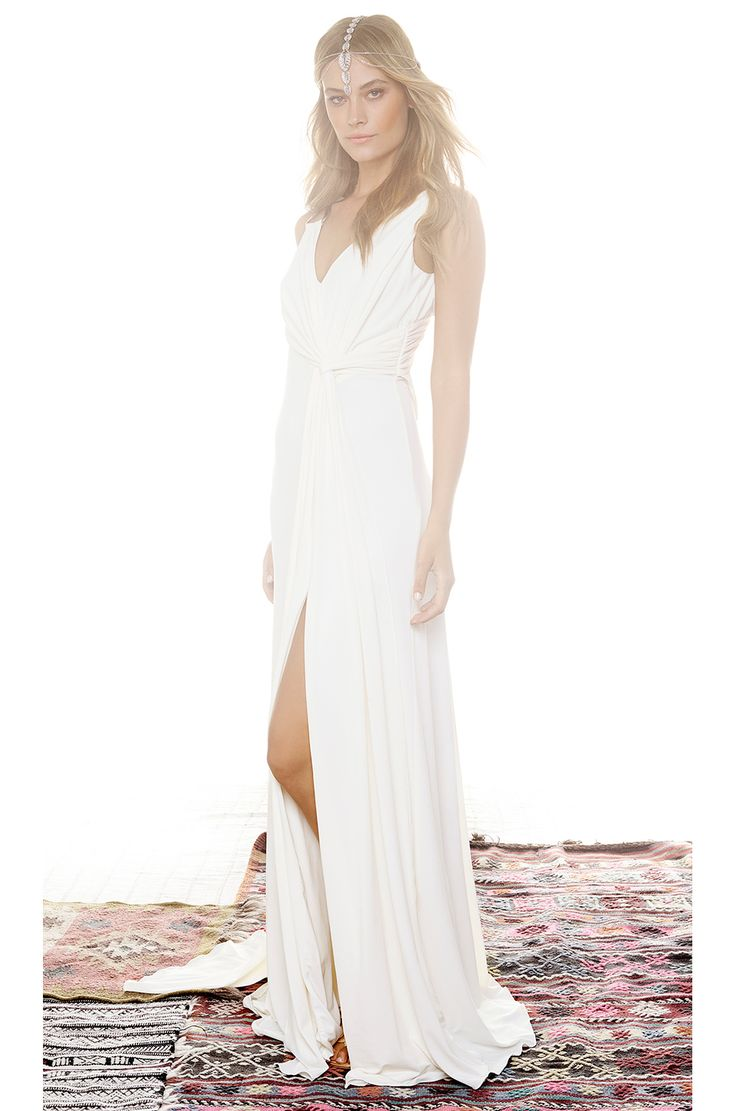Halston Heritage Draped Cowl Back Gown