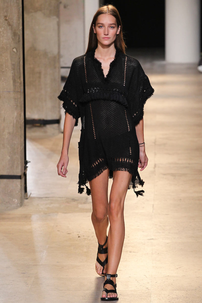 Isabel Marant Telima Fringed V-neck Tunic in Black