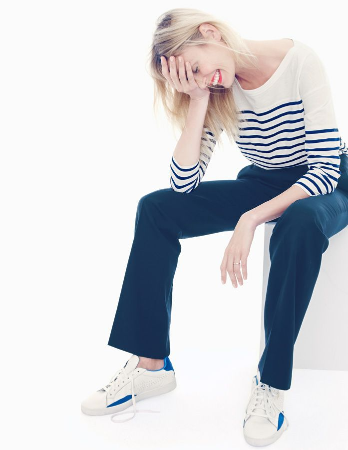 J.Crew Three-quarter sleeve football tee in stripe