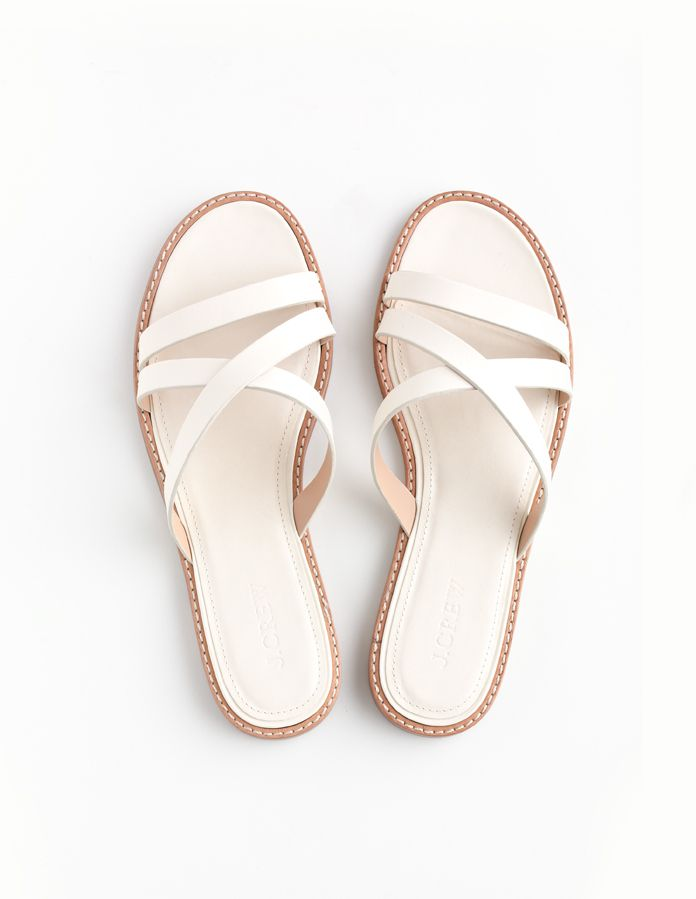J.Crew Vachetta leather crisscross slides