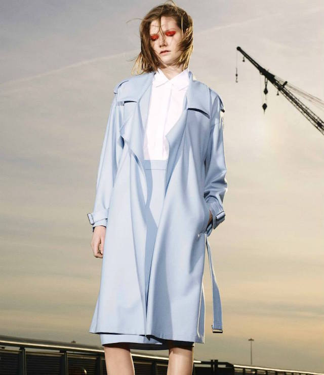 Ji Oh Twill Belted Trench Coat