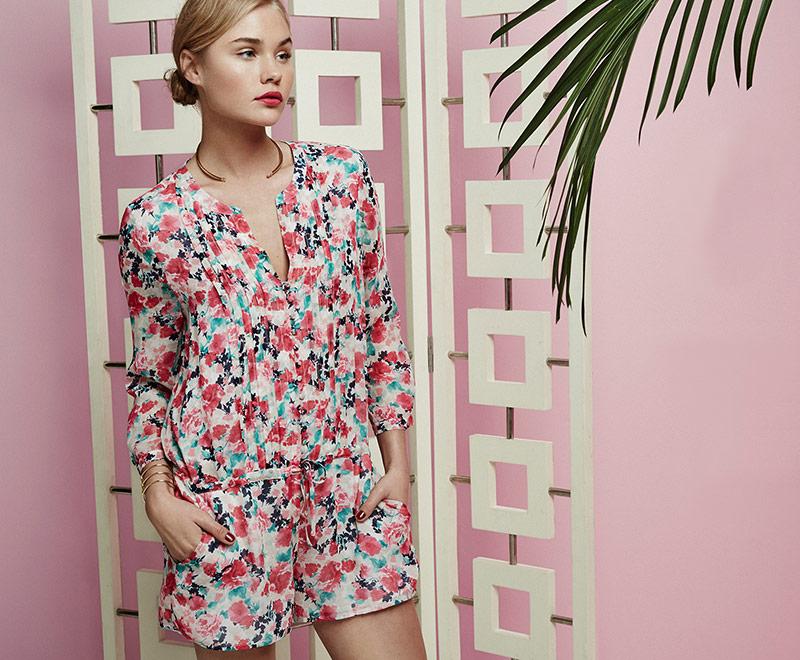 Joie Amara Silk Floral Print Short Jumpsuit