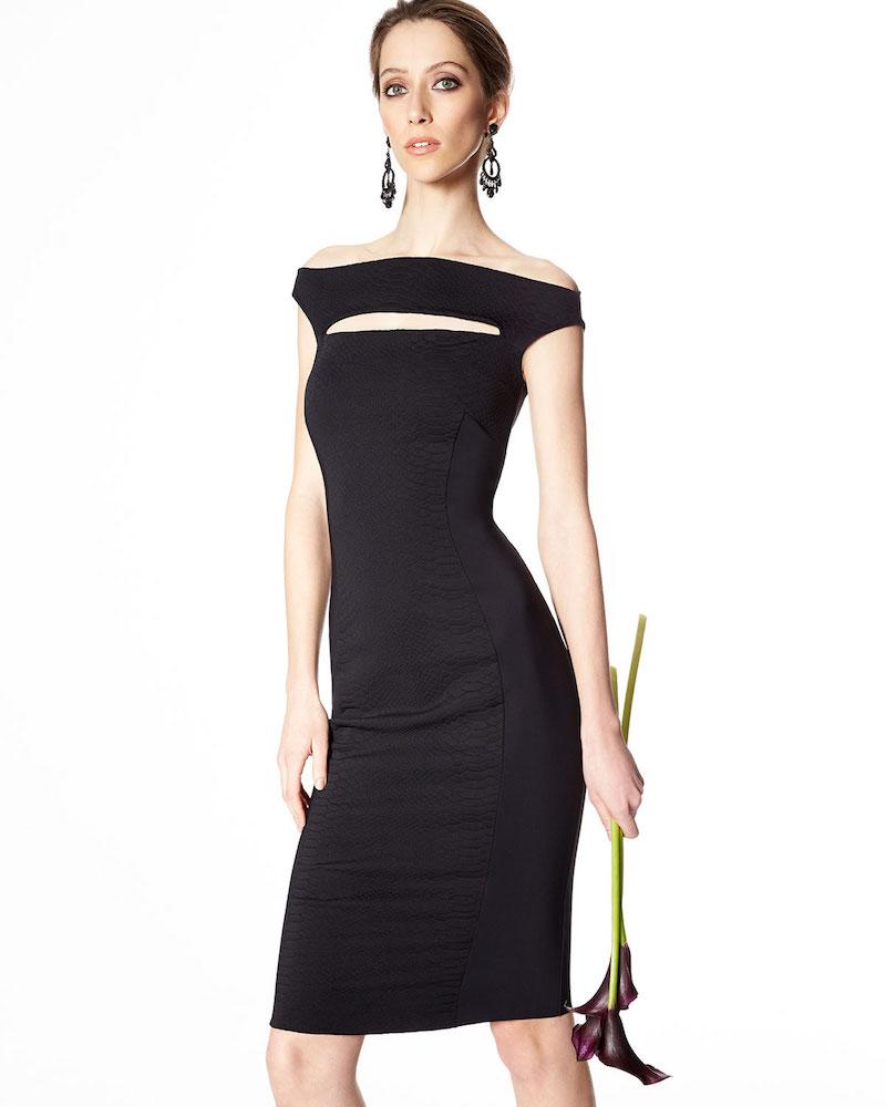 La Petite Robe di Chiara Boni Balinette Cap-Sleeve Snake Jacquard Sheath Dress