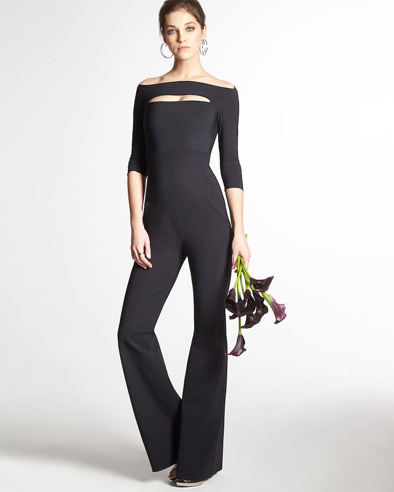 La Petite Robe di Chiara Boni Tukatiu 3/4-Sleeve Off-the-Shoulder Wide-Leg Jumpsuit