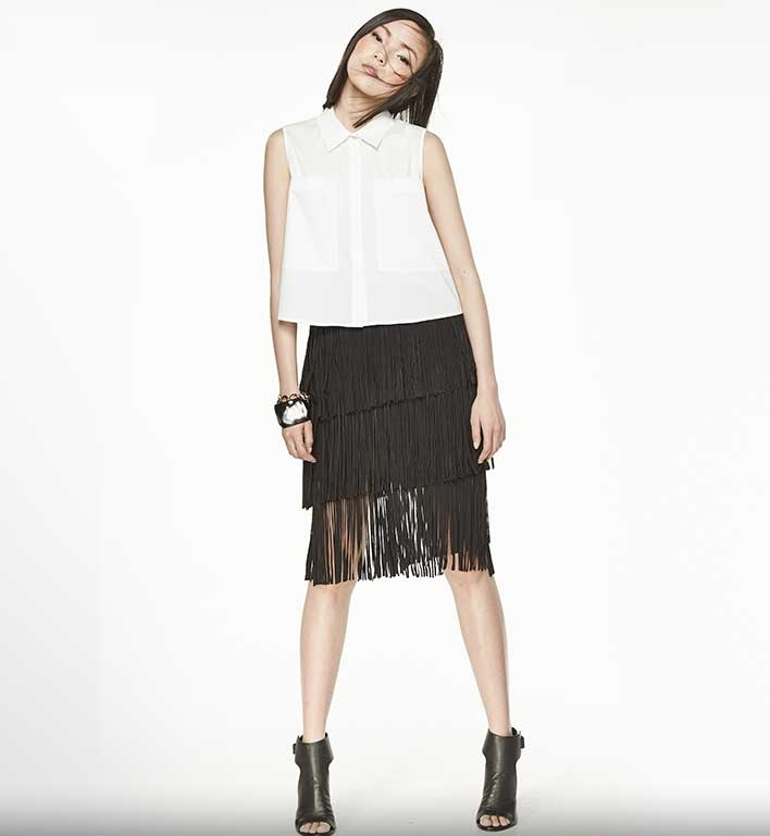 LaMarque Kidskin Suede Tiered Fringed Skirt