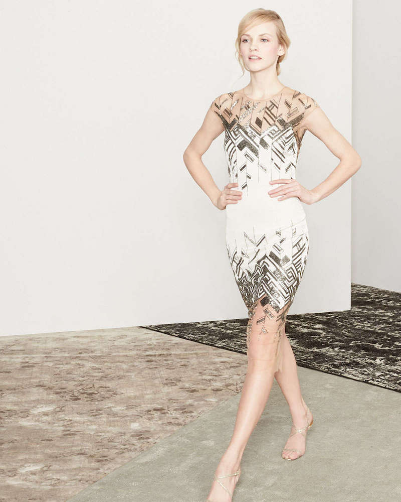 Lela Rose Chevron-Beaded Tulle-Inset Sheath Dress