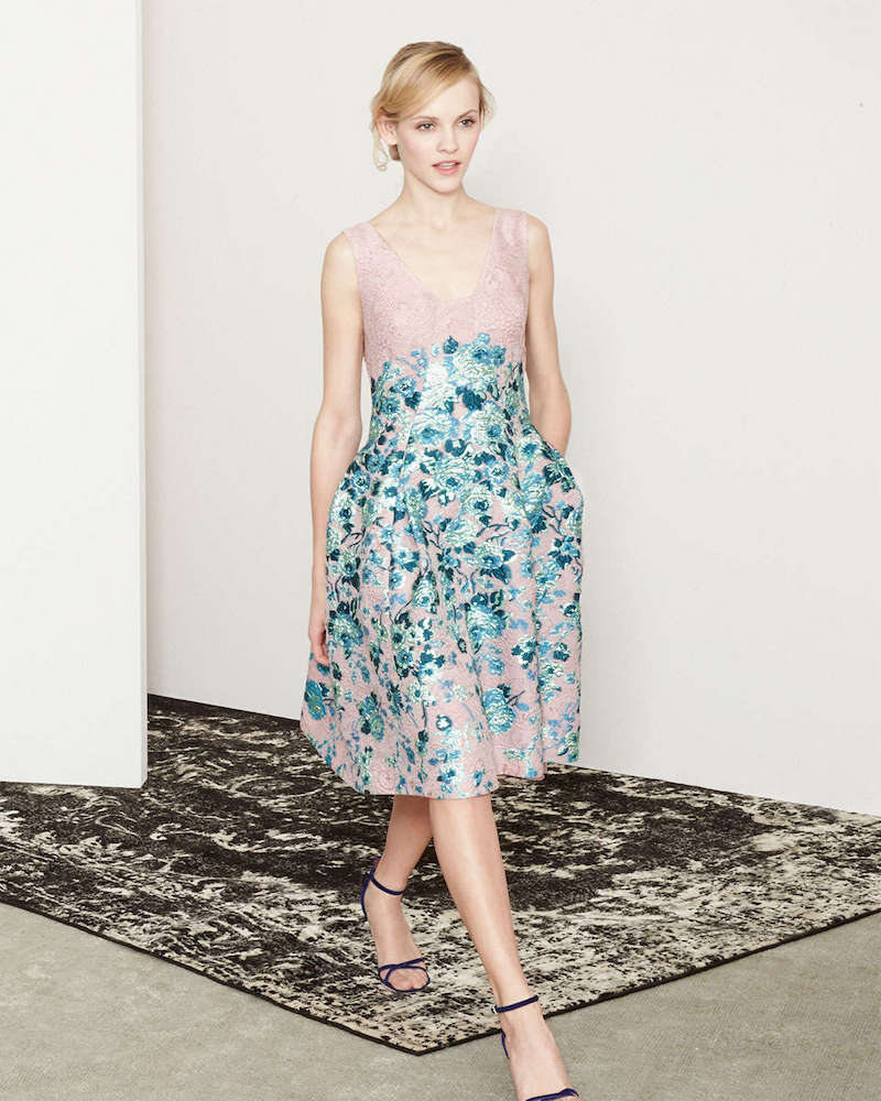 Lela Rose Floral-Jacquard A-Line Dress