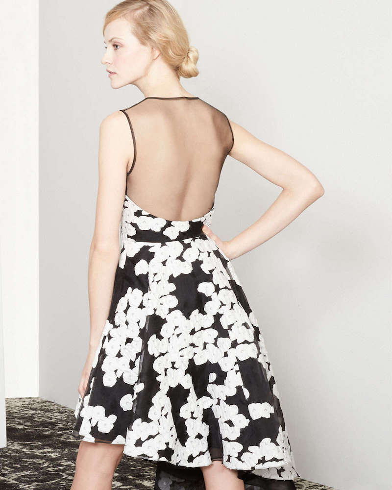 Lela Rose Floral-Print Asymmetric Ruffled Dress