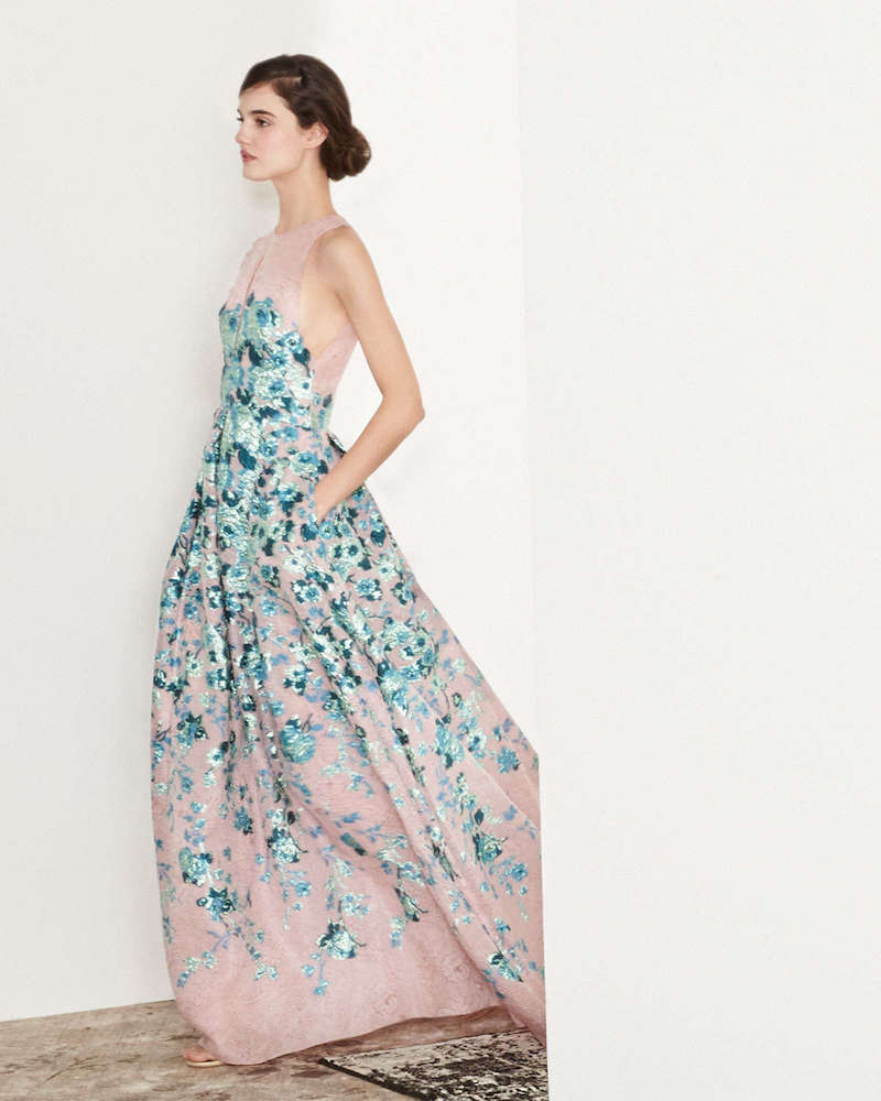 Lela Rose Keyhole Cutout-Back Floral Jacquard Gown