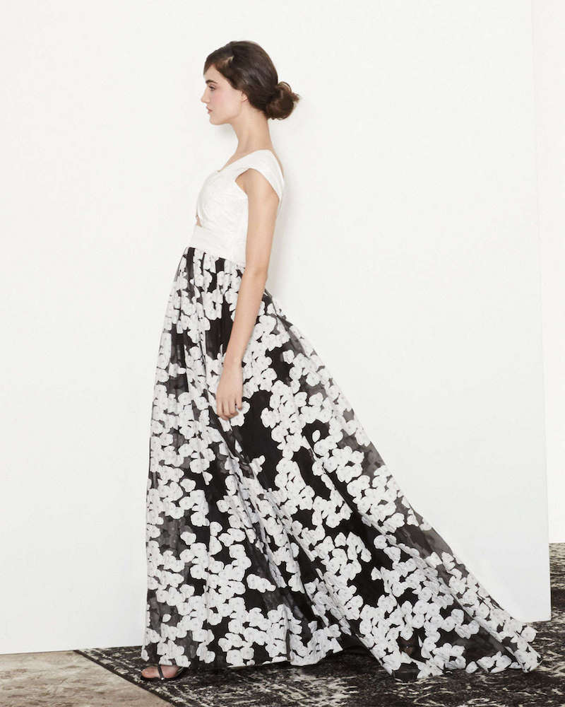 Lela Rose Off-The-Shoulder Floral-Embroidered Cutout Gown