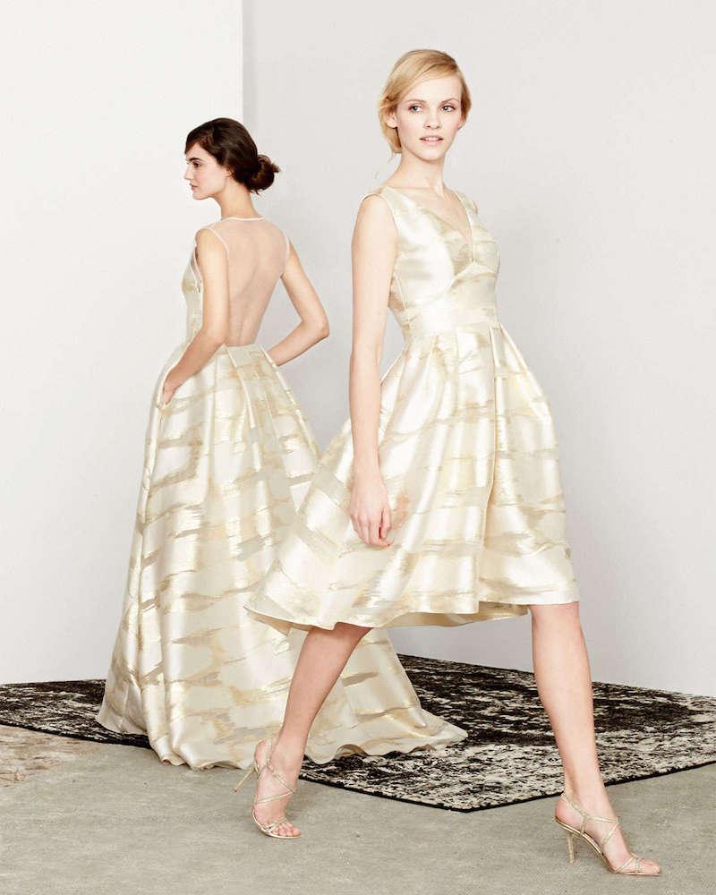 Lela Rose Taffeta Burnout Full-Skirt Dress